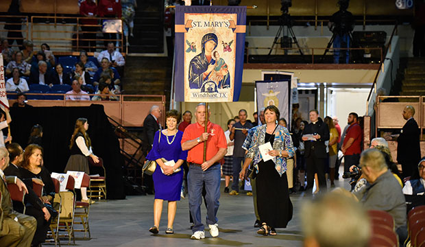 St. Mary's of Windthorst, Texas, enters the Fort Worth diocese anniversary Mass, celebrating 50 years of ministry in North Texas, Wednesday Aug. 21, 2019 at the Convention Center in downtown Fort Worth.