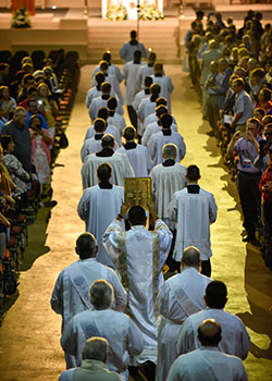 Seminarians lead the procession of the Fort Worth Diocese 50th Anniversary Mass, Wednesday Aug. 21, 2019 at the Convention Center in downtown Fort Worth