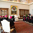 "Pope Francis leads a meeting with U.S. bishops from North Dakota, Minnesota and South Dakota in the Apostolic Palace at the Vatican Jan. 13, 2020. The bishops were making their ""ad limina"" visits to the Vatican to report on the status of their dioceses to the pope and Vatican officials. (CNS photo/Vatican Media)"