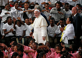 "Pope Francis arrives to visit the Akamasoa ""Community of Good Friends"" in Antananarivo, Madagascar, Sept. 8, 2019."