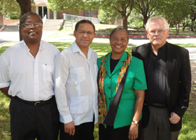 Participants in the Sankofa Institute lecture series at the Oblate School of Theology in San Antonio pose for a photo outside the school Sept. 28. Pictured from left are the Rev. Dwight Hopkins, professor of theology at the University of Chicago's Divini ty School; South African anti-apartheid activist the Rev. Allan Boesak; Sister Addie Lorraine Walker, a member of the School Sisters of Notre Dame and director of the Sankofa Institute for African American Pastoral Leadership at the Oblate school; and Ob late Father Ron Rolheiser, the school's president. (CNS photo/J. Michael Parker, Today's Catholic)