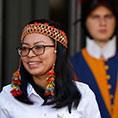 Leah Rose Casimero, an indigenous representative from Guyana, leaves the first session of the Synod of Bishops for the Amazon at the Vatican Oct. 7, 2019.