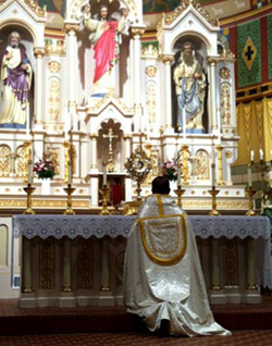 Father Raymond McDonald, pastor of St. Peter Church in Lindsay kneels before the Blessed Sacrament during the Holy Hour for Marriage on Feb. 10 in honor of World Day of Marriage. Balanced Family Ministries sponsored the Holy Hour to celebrate the World Day of Marriage, designated by the U.S. Conference of Catholic Bishops as the Sunday closest to St. Valentine's Day. (Photo courtesy of Diane Schwind)