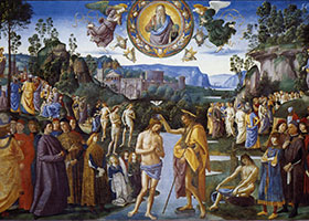 """The Baptism of Christ,"" from the Sistine Chapel. Pietro Perugino, 1482."