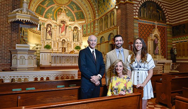 Andy and Susie Bezner, with son and daughter-in-law Nicholas and Briley Bezner, at St. Peter Parish in Lindsay.
