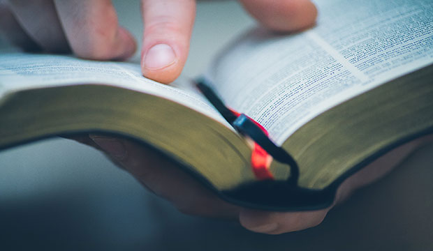 fingers pointing at Bible verse