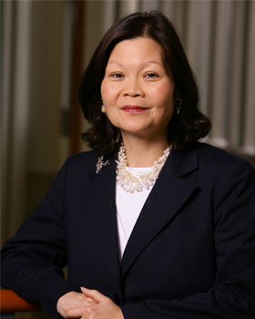 Carolyn Y. Woo, president and CEO of Catholic Relief Services, is urging presidents of Catholic colleges to make sure students are equipped for faith-based global outreach. Woo, pictured in an undated photo, addressed the group at the Association of Cath olic Colleges and Universities' conference Feb. 3. (CNS photo/Matt Cashore, courtesy of University of Notre Dame)