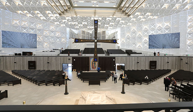 This is an interior view taken July 8, 2019, inside the Christ Cathedral in Garden Grove, Calif., in the Diocese of Orange.