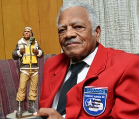 On his 90th birthday last year, Captain Platte received a Tuskegee Airman commemorative statue from members of the Claude R. Platte DFW Chapter of the Tuskegee Airmen, Inc.