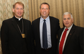 FOCUS2.jpg From left, Father Jonathan Wallis, diocesan director of Catechesis; Curtis Martin, president and Founder of the Fellowship of Catholic University Students; and Bill Quinn, president of the Fort Worth Chapter of Legatus. Prior to the recent Legatus meeting featuring Martin as speaker, the group gathered for Mass at St. Patrick Cathedral, celebrated by Fr. Wallis