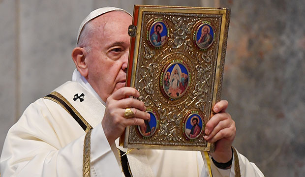 Pope with book of the Gospels