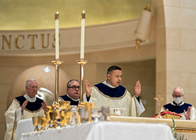 Father Pedro Martinez at the consecration