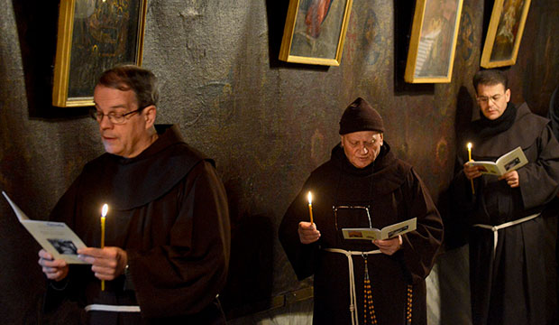 Frianciscan Friars praying in Bethlehem