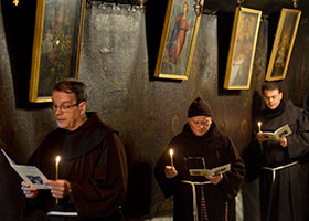 Franciscan friars pray in Bethlehem
