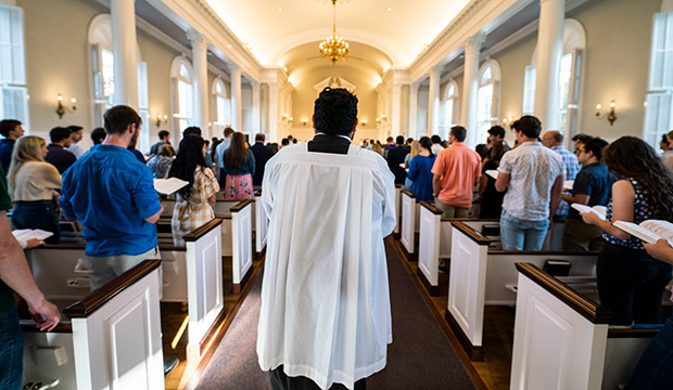 students at Mass at TCU