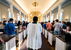 students at TCU Mass