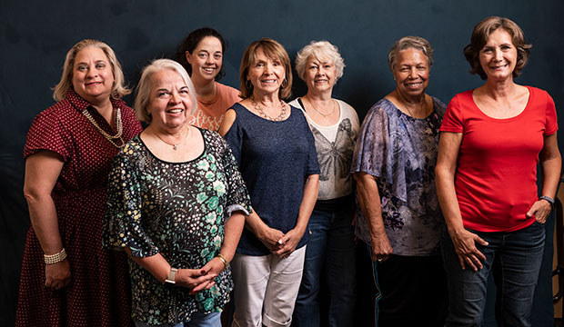 (L-R) Kristen Patterson, Mildred Girón-Arthur, Sally Kurz, Jane Bosworth, Nancy Jones, Juanita Thornton, and Linda Fowler are some of the Gabriel Angels who volunteer at St. Bartholomew Parish's Gabriel Project outreach. (NTC/Juan Guajardo)