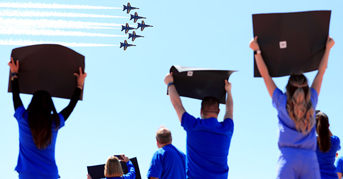 health care workers and blue angels