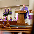 Bishop Olson gives the homily at Our Lady Queen of Peace Parish in Wichita Falls