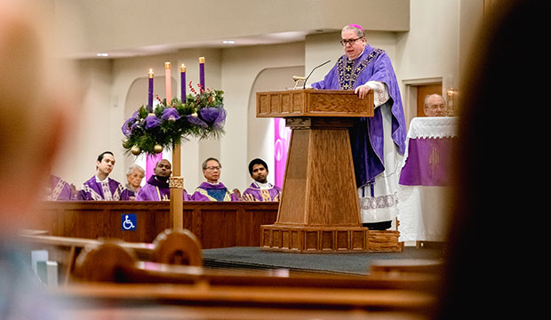 Bishop Olson gives a homily on Dec. 8 at Our Lady Queen of Peach Parish in Wichita Falls