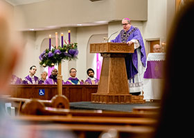 Bishop Olson gives a homily at Our Lady Queen of Peace Parish in Wichita Falls on Dec. 8