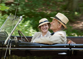 "Laura Linney and Bill Murray star in a scene from the movie""Hyde Park on Hudson."" The Catholic News Service classification is O -- morally offensive. The Motion Picture Association of America rating is R -- restricted. Under 17 requires accompanying pare nt or adult guardian. (CNS photo/Focus)"