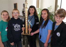 "Immaculate Conception Catholic School won the North Texas Academic Championship with ""Top Knights"" garnering the highest individual point totals.  They include from left, Brandy Sorrells, Bret Sorrells, Jillian Josefsberg, Marga Del Mundo, and Will Davey."