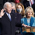 Biden with his hand on Bible