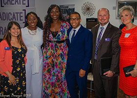 Community leaders from North Texas were introduced to CCFW's mission of eradicating poverty. From left, Desiree Tennison of CCFW; Dimanche Brewer of BRIDGE;  Jade Tinner of CCFW; Willie Ranking of LVTRise; Michael Grace, President of CCFW, and his wife, Elizabeth Grace.