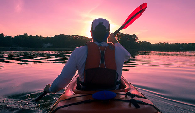 kayak at sunset