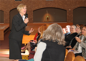 Johnette Benkovic, keynote speaker at the Women's Conference 2012, speaks to a group of women attending the conference.