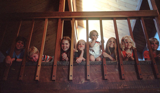 many kids on stairs