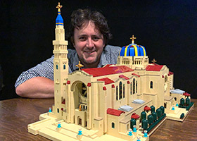 John Davisson and a Lego replica of the Basilica of the National Shrine of the Immaculate Conception