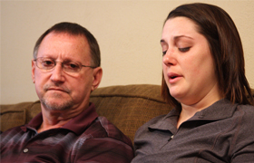 Mike Lovelady, the brother of Victor Lovelady, an American worker killed in a terrorist attack in Algeria, and Erin Lovelady, Victor's daughter, talk to the media during a Jan. 22 press conference in Nederland, Texas. Victor Lovelady, a member of St. Cha rles Borromeo Parish in Nederland, was one of three American civilians killed at the Ain Amenas gas plant in Algeria during a four-day siege by al-Qaida that began early Jan. 16. (CNS photo/Sarah Dupre, East Texas Catholic)