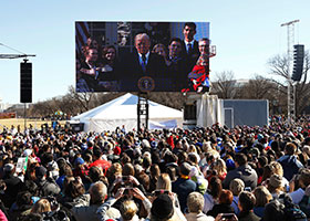U.S. President Donald Trump is projected on a large video screen as he addresses attendees of the annual March for Life rally in Washington Jan. 19, 2018.