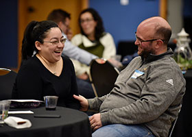 Teresa Williams, left, speaks and laughs with her husband Michael Williams as they have personal time during a married couple activity at the event Marriage on Tap at Good Shepherd Church in Colleyville, Nov. 02, 2019. NTC PHOTO/BEN TORRES