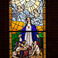 stained glass window of Mary