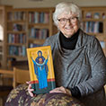 Sister Carrie Link with icon of Mary, Undoer of Knots