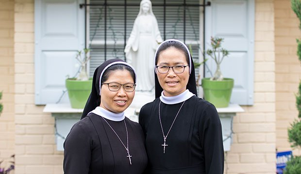 Sister Maria Chu (left) and Sister Theresa Tran belong to Lovers of the Holy Cross, a religious order based in Vietnam.
