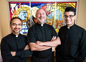 From left, Father Roy Joseph, Father Anthony Borrow, and Father Ron Gonzales, lead retreats. (NTC/Juan Guajardo)