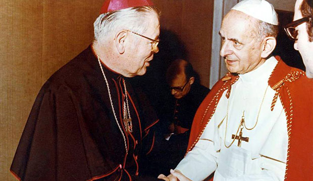 Bishop William D. Borders is greeted by St. Paul VI in an undated photo.