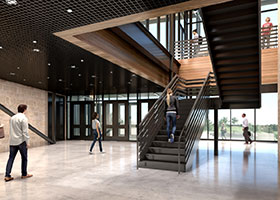 A rendering shows the lobby of Nolan High School's IDEA building (Courtesy/Nolan High School)