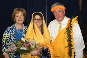 From left are Nolan Catholic High School Principal Cathy Buckingham, Meghan McCoy, and Kai Nemeth, creator and organizer of Mary, Mother of All Nations. A 2004 graduate of Nolan Catholic High School, McCoy was the honored alumna called on to serve as the Blessed Mother at the Mary, Mother of All Nations program.