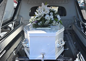 coffin in hearse