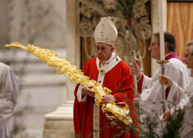 Pope Francis holds large palm frond