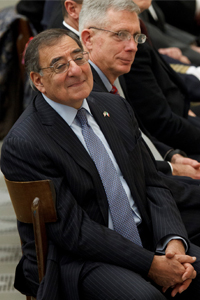 U.S. Defense Secretary Leon Panetta attends Pope Benedict XVI's general audience in Paul VI hall at the Vatican Jan. 16. (CNS photo/Paul Haring)