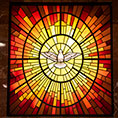 Holy Spirit window at Vietnamese Martyrs Parish in Arlington