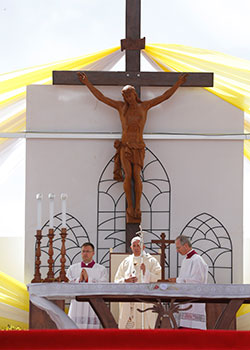 Pope Francis celebrates Mass at the Soamandrakizay diocesan field in Antananarivo, Madagascar, Sept. 8, 2019. (CNS photo/Paul Haring)