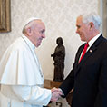 Pope Francis greets U.S. Vice President Mike Pence during a private meeting at the Vatican Jan. 24, 2020.
