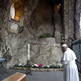 Pope prays at a replica of Lourdes